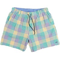 Dockside Swim Trunk in Purple Green and Gold Seersucker Gingham by Southern Marsh - FINAL SALE