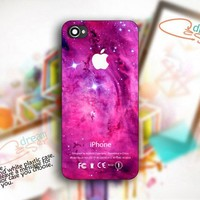 Pink Galaxy Nebula Apple Logo - Photo On Hard Cover For iPhone 5