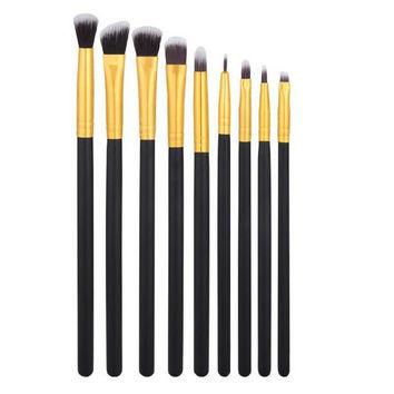 9pcs Premium Synthetic Cosmetics Eye Shadow Eyeliner Makeup Brushes Sets (9 Pcs Golden Black) Gift