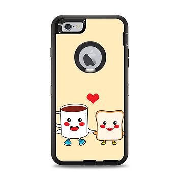 The Cute Toast & Mug Breakfast Couple Apple iPhone 6 Plus Otterbox Defender Case Skin Set