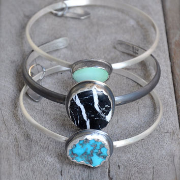 White Sands Buffalo Turquoise Silver Cuff Bracelet