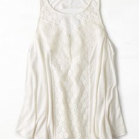 AEO Women's Mixed Lace Tank (Chalk)