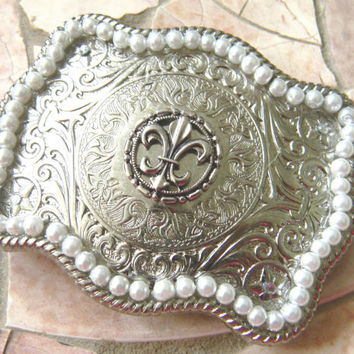 Fleur De Lis Rhinestone Belt Buckle, Pearl Belt,  Silver Western Womens Belt Buckle, Mardi Gras Silver Belt, New Orleans Saints Football