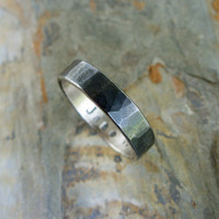 Hammered Blackened Silver Wedding Band with Personalized Inscription - Sterling Silver Commitment Ring - Flat Band