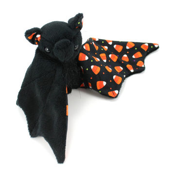 Halloween Themed Bat Stuffed Animal with Soft Fur and Candy Corns, Cute Plush Toy
