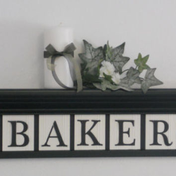 "Personalized Family Names and Signs 30"" Shelf with 7 Wooden Letter Tiles Painted Black and White BAKER with Bold Ivy Leaves Design Tiles"