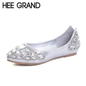 HEE GRAND Elegant Loafers Silver Crystal Ballet Flats 2017 Casual Slip On Shoes Woman Shallow Summer Women Flat Shoes XWD5612
