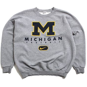 University Of Michigan Football Block M Nike Crewneck Sweatshirt Heather Grey (Medium)