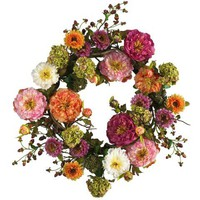Lush Mixed Peony Artificial Silk Wreath Decorative Wall Hanging 24 In