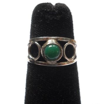 Vintage Mexico Ring Jadeite Petite Silver Ring Green Stone Cabochon Taxco Mexico Jewelry Ring Mid Century Statement Ring