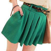 Women Belted Zip Lined Pleated Summer Mini Skirts