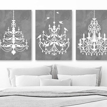 CHANDELIER Wall Art, CHANDELIER Canvas or Print, Gray Watercolor Wall Art, Gray Bathroom Wall Decor, CHANDELIER Gray Bedroom Decor, Set of 3