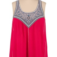 Embroidered flowy gauze bar back plus size tank