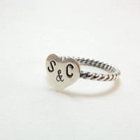 Personalized Initials Heart Ring Sterling Silver by BooBeads