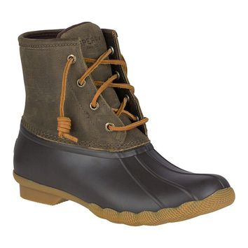 Women's Saltwater Duck Boot in Brown and Olive by Sperry