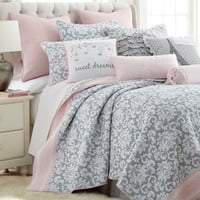 Gray Damask Quilt Set