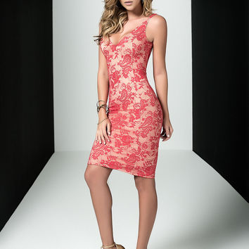 Red Floral Lace Dress Clubwear Dress