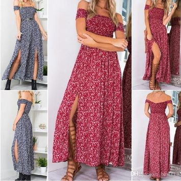 Slash Neck Boho Maxi Dress Summer Women Elegant Short Sleeve Casual Red Dress Loose Women Clothes Sexy Long Dresses Vestido