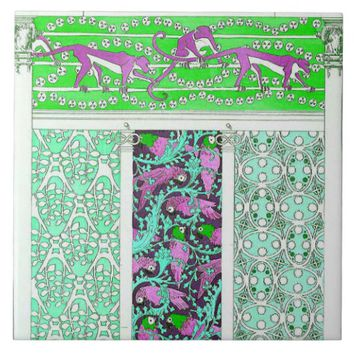 Pink baboon and parrot jungle tile