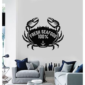 Vinyl Wall Decal Fresh Seafood Restaurant Ocean Animal Crab Stickers Mural (g3021)
