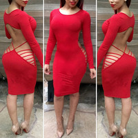 Red Long Sleeve Strappy Cut-Out Back Bodycon Dress