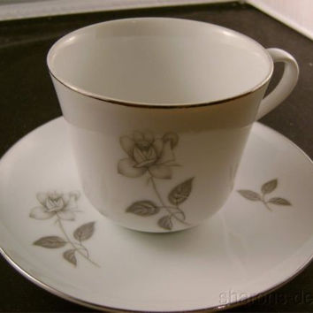 Queens Royal Japan Rosebud Platinum Rose Cup Saucer Set Silver Fine China