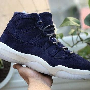 [Free Shipping ]Air Jordan 11 Jeter Re2pect  Blue Suede Basketball Sneaker