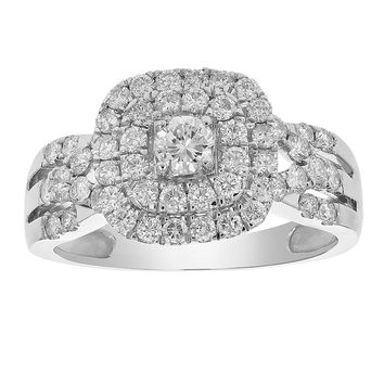 0.79 Carats 1 CT Diamond Halo Cushion Wedding Engagement Ring 14K White Gold