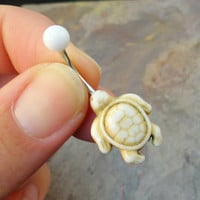 White Howlite Turtle Belly Button Ring Jewelry