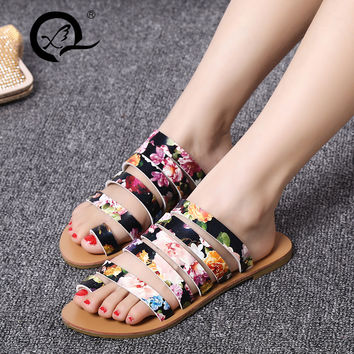 2016 fashion QuanXiu women rome sandals, summer flat shoes, girls sex Circle shoes, sweet two color chose for free shipping QX-5