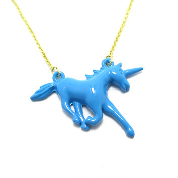 Unicorn Horse Animal Shaped Pendant Necklace in Blue | Animal Jewelry