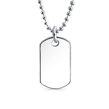 Small Dog Tag Pendant Necklace High Sterling Silver Shot Bead Ball