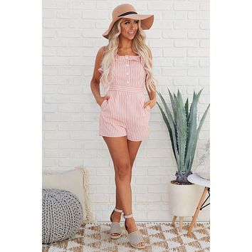 Chantay Button Up Striped Romper (Rose)