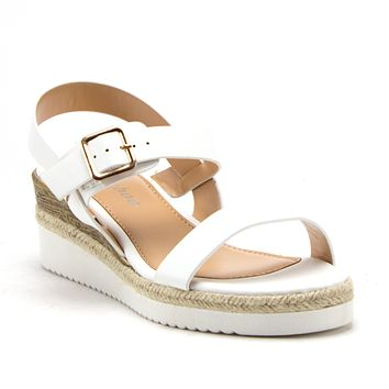 Women's Wanda-4 Stacked Flatform Espadrilles Slingback Strappy Open Toe Wedge Sandals