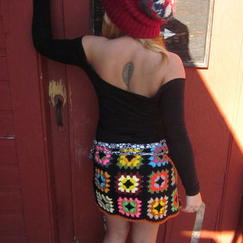 $45.00 Upcycled Warmth WIth Love Black and Neon by MountainGirlClothing