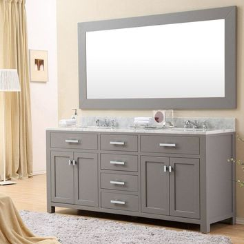 "72"" Double Sink Bathroom Vanity Set- Marble Sink Top- Cashmere Gray"