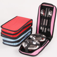 Outdoor Stainless Steel Tableware Suit Bag Portable Travel Lovers Double Picnic