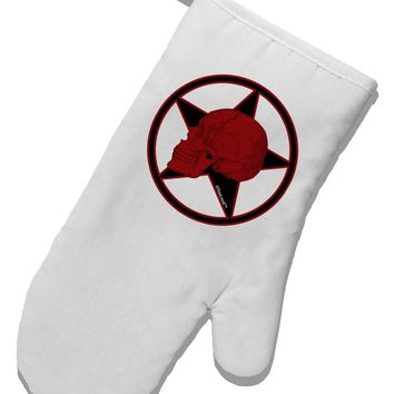 Blood Red Skull White Printed Fabric Oven Mitt by TooLoud