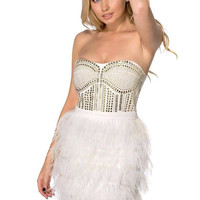 LACEY OSTRICH FEATHER FROCK WHITE DRESS