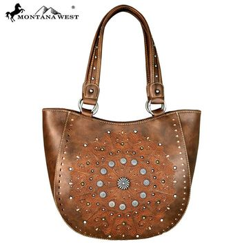 Montana West Concho Collection Boho Tote