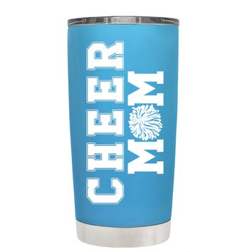 Pom Pom Cheer Mom on Baby Blue 20 oz Tumbler Cup