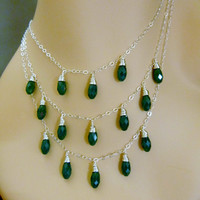 Bridesmaids' Sterling Silver and Swarovski Crystal Three Strand Necklace