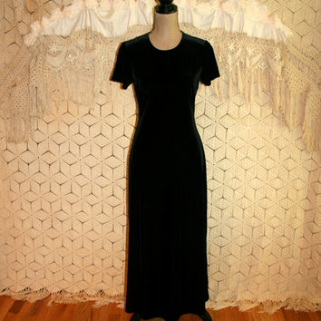 Short Sleeve Black Velvet Dress Long Velvet Dress Velvet Maxi Dress Fitted Black Dress Goth Gothic Size 4 Size 6 Small Vintage Clothing