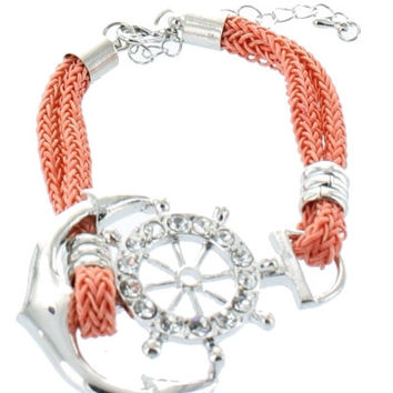 Trendy Nautical ANCHOR Wheel Coral Rope Adjustable Silver Bracelet Costume Jewelry Gift