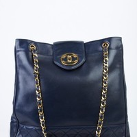 Chanel Navy CC Flap Tote