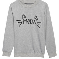 """Gray """"MEOW"""" Print Sweater for Women"""