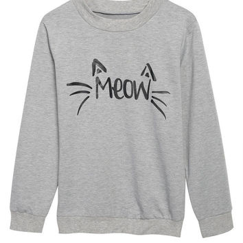 "Gray ""MEOW"" Print Sweater for Women"