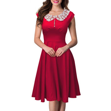 Womens Elegant Casual 50s Vintage Dresses 2016 Short Sleeve Rockabilly Retro 1950s Summer Tunic Swing Party Dresses