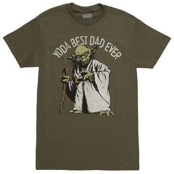 172472ec1 Star Wars Yoda Best Dad Ever Licensed Adult Men's T-Shirt - Army