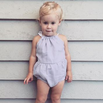 Solid Color Baby Spring Summer Rompers Lace Straps Baby Girl Romper Sleeveless Jumpsuit Baby Clothes 9-24M